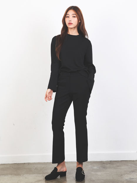 SLIM FIT PANTS BLACK