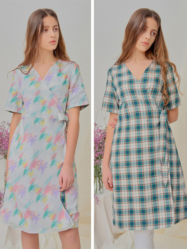 [NUPARCC]Reversible Wrap Dress - FL&CH