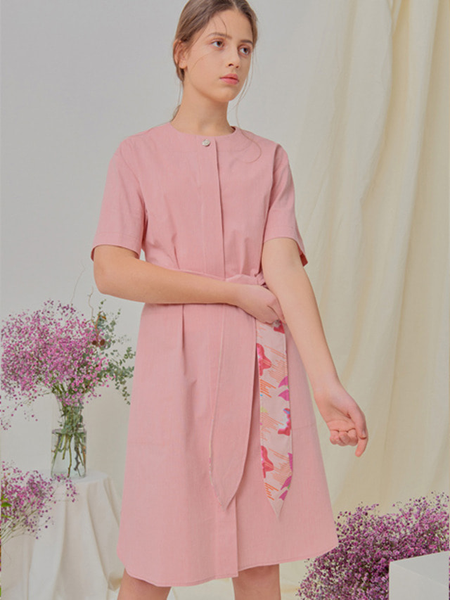 [NUPARCC]Floral Belt Dress - PK