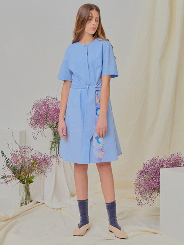 [NUPARCC]Floral Belt Dress - BL
