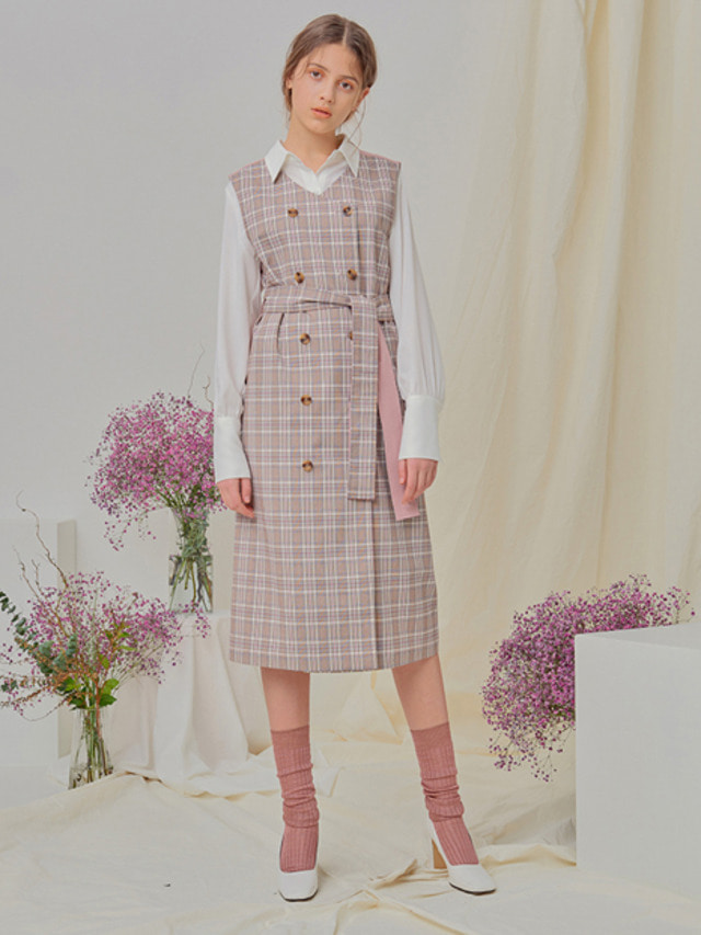 [NUPARCC]Reversible Plaid Vest Dress