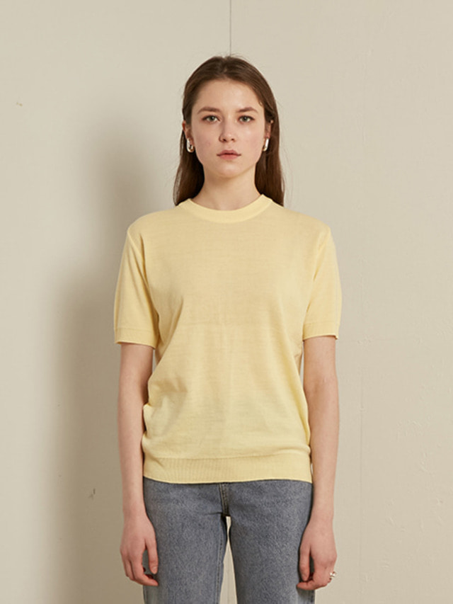 [13month]HALF SLEEVE ROUND KNIT (YELLOW)