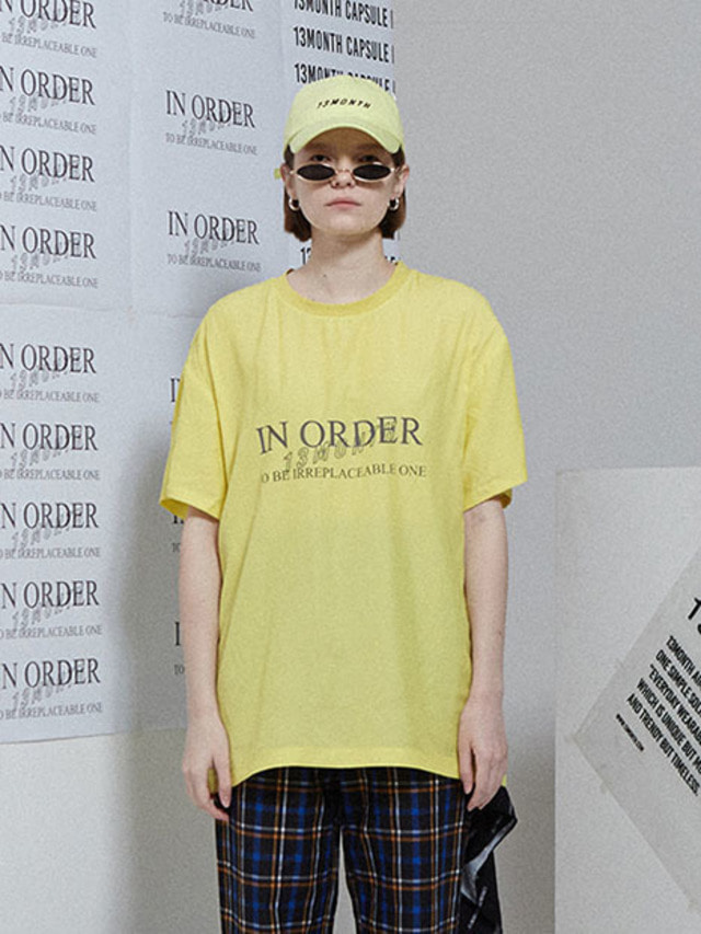 [13month]IN ORDER PRINT T-SHIRT YELLOW