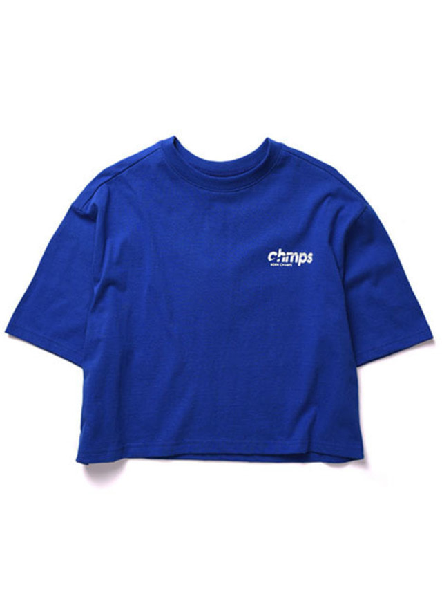 [BORNCHAMPS]CROP SIDE LOGO TEE BLUE CERBGTS04BL