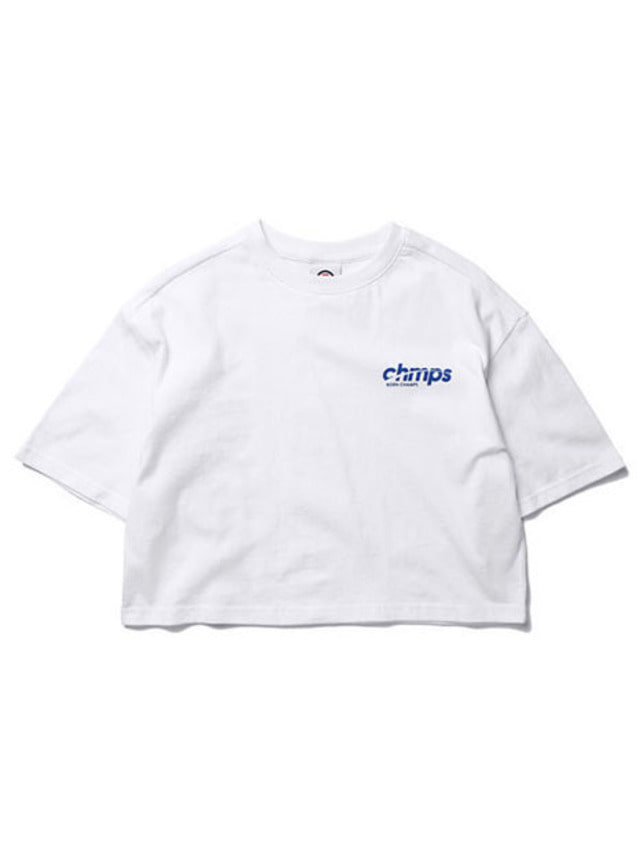 [BORNCHAMPS]CROP SIDE LOGO TEE WHITE CERBGTS04WH