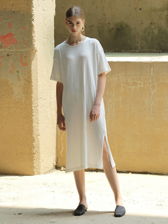 [MOHAN]PLEATED LONG DRESS WHITE