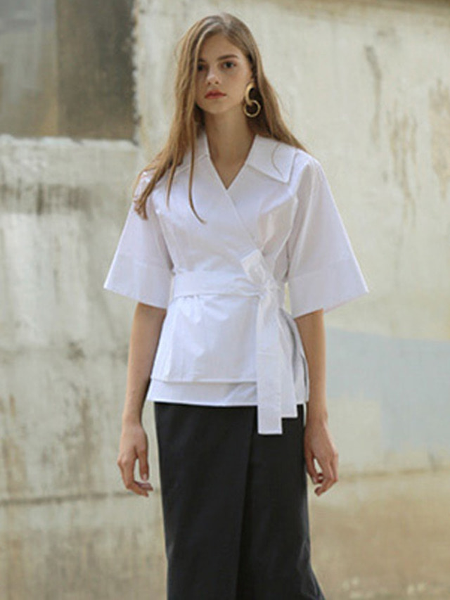 [MOHAN]WIDE COLLAR WRAP BLOUSE WHITE