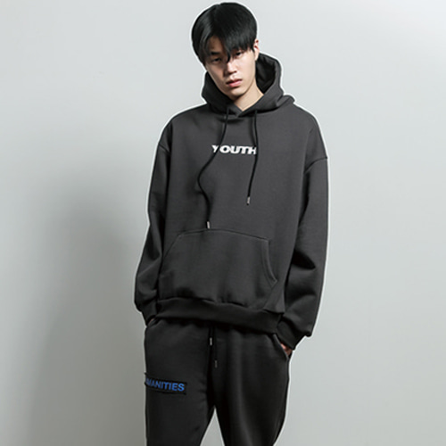 [JUSTO] YOUTH PRINTED HOODIE DARKGRAY