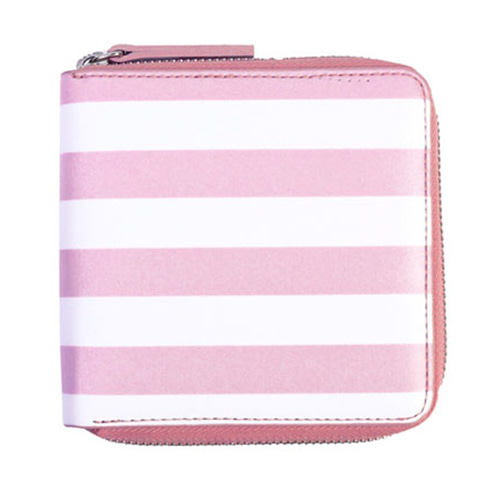 stripe wallet - pink