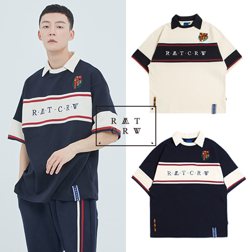 [ROMANTICCROWN] CROSS LINE HALF POLO SHIRT 2COLOR