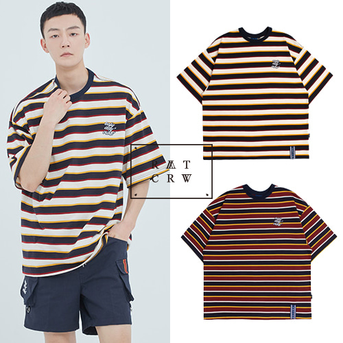 [ROMANTICCROWN] E.D.V STRIPED T SHIRT 2COLOR