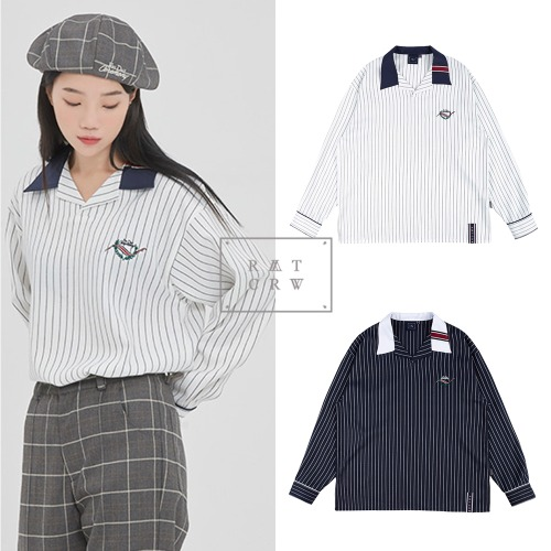[ROMANTICCROWN] STRIPED BOWLING SHIRT 2COLOR
