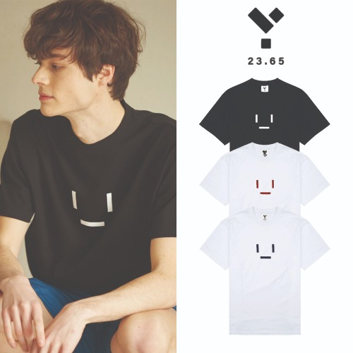 [23.65] 23.65 EMOTICON HALF T-SHIRT 3COLOR